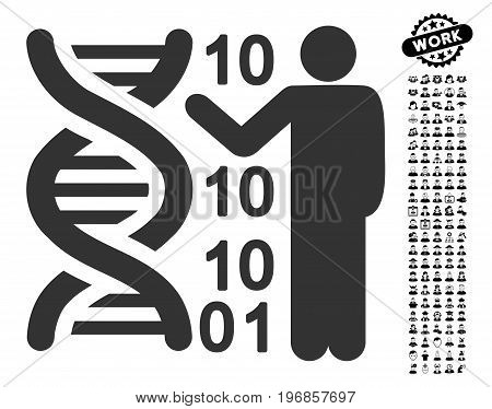 DNA Code Report icon with black bonus professional symbols. DNA Code Report vector illustration style is a flat gray iconic element for web design, app user interfaces.