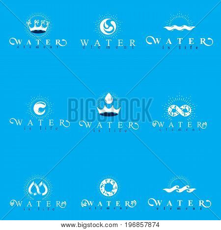 Fresh mineral water design emblems like water drops H2O symbols wave splash and limitless logotypes. Cleaning services business logo water treatment concept.
