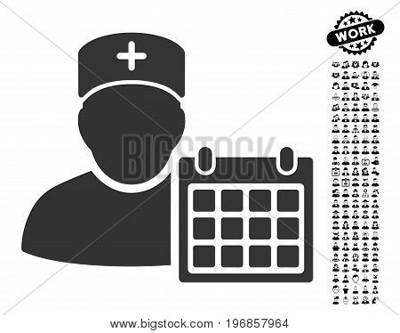 Doctor Appointment icon with black bonus professional pictograph collection. Doctor Appointment vector illustration style is a flat gray iconic symbol for web design, app user interfaces.