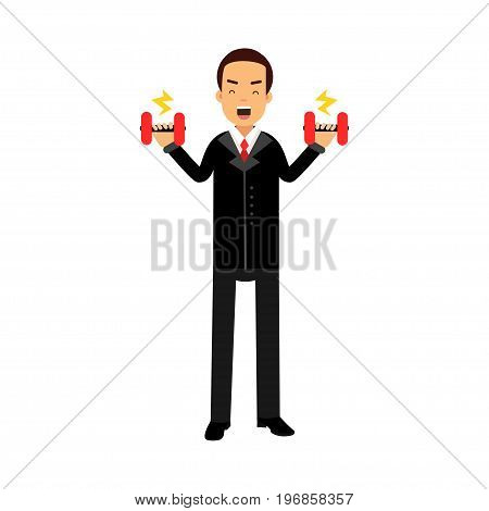 Businessman character easily lifting two dumbbells, business challenge and success vector Illustration on a white background