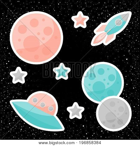 Vector Space Cover With Planets, Pink And Blue Stars, Ufo And Spaceship