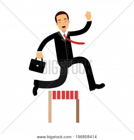 Businessman character racing over hurdle obstacles, business competition vector Illustration on a white background