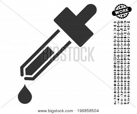 Dropper icon with black bonus professional graphic icons. Dropper vector illustration style is a flat gray iconic element for web design, app user interfaces.