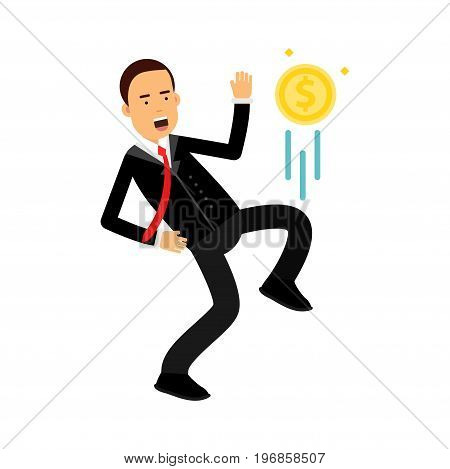 Businessman character kicking dollar coin like football player vector Illustration on a white background