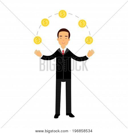Businessman character juggling with gold dollar coins, successful financier vector Illustration on a white background