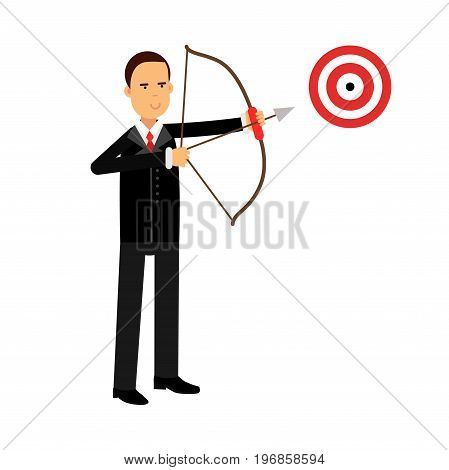 Businessman character aiming target with bow and arrow, business challenge and success vector Illustration on a white background