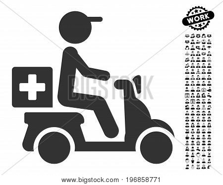 Drugs Motorbike Delivery icon with black bonus profession clip art. Drugs Motorbike Delivery vector illustration style is a flat gray iconic symbol for web design, app user interfaces.