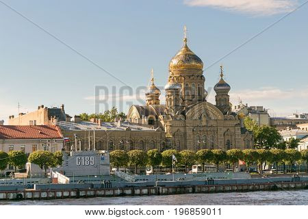 St. Petersburg, Russia - June 28, 2017: Panoramic View Of The Neva River Embankment In St. Petersbur