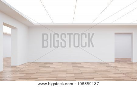 Empty white room modern space interior 3d rendering image.White room Many rooms are connected.There are wood floor white wall