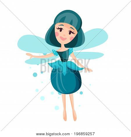 Beautiful fairy with wings, long hair and dress in cerulean colors flying surrounded by sparks vector Illustration on a white background