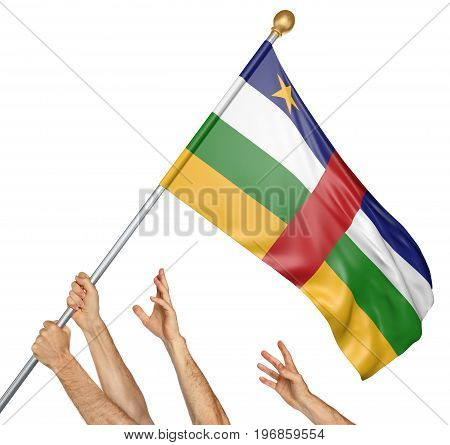 Team of peoples hands raising the Central African Republic national flag, 3D rendering isolated on white background