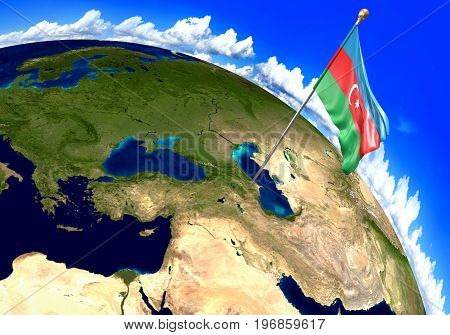 Azerbaijan national flag marking the country location on world map. 3D rendering, parts of this image furnished by NASA