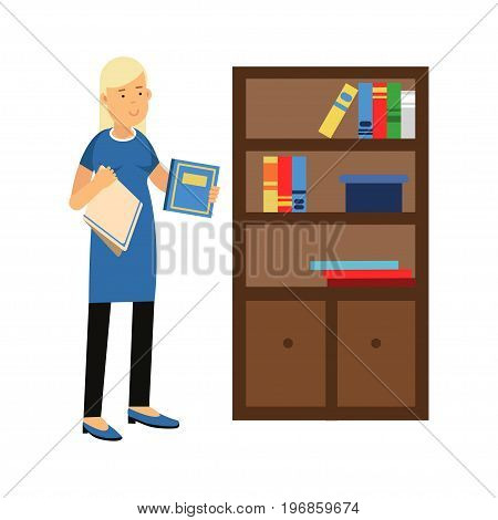 Beautiful young blonde woman housewife wiping dust from a bookcase, home cleaning and homework vector Illustration on a white background