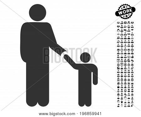 Father With Son icon with black bonus professional pictures. Father With Son vector illustration style is a flat gray iconic symbol for web design, app user interfaces.