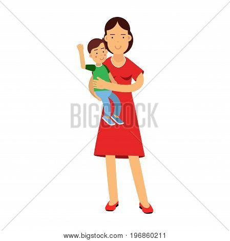Beautiful young brunette woman holding son in her arms, care and upbringing of the child vector Illustration on a white background