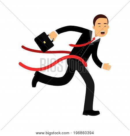 Businessman character crossing finish line, business challenge and success vector Illustration on a white background