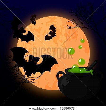 Vector illustration of a scary Halloween design. A bright moon, a pot of witches potion brewed by moonlight.