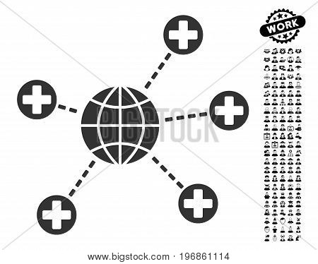 Global Medical Links icon with black bonus job icon set. Global Medical Links vector illustration style is a flat gray iconic element for web design, app user interfaces.