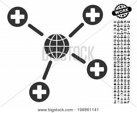 Global Medical Links icon with black bonus professional pictures. Global Medical Links vector illustration style is a flat gray iconic element for web design, app user interfaces.