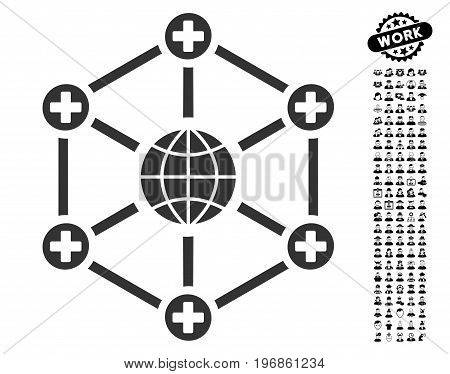 Global Medical Network icon with black bonus work symbols. Global Medical Network vector illustration style is a flat gray iconic element for web design, app user interfaces.
