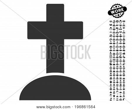Grave icon with black bonus people symbols. Grave vector illustration style is a flat gray iconic symbol for web design, app user interfaces.