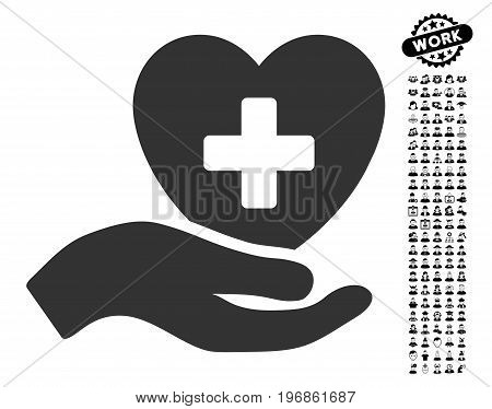 Hand Offer Cardiology icon with black bonus men design elements. Hand Offer Cardiology vector illustration style is a flat gray iconic element for web design, app user interfaces.