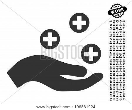 Hand Offer Medicine icon with black bonus work clip art. Hand Offer Medicine vector illustration style is a flat gray iconic symbol for web design, app user interfaces.