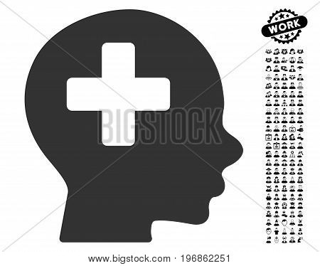 Head Medicine icon with black bonus men pictograms. Head Medicine vector illustration style is a flat gray iconic symbol for web design, app user interfaces.
