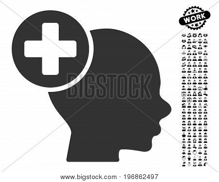 Head Treatment icon with black bonus profession icon set. Head Treatment vector illustration style is a flat gray iconic symbol for web design, app user interfaces.