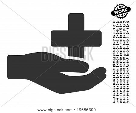 Health Care Donation icon with black bonus men icon set. Health Care Donation vector illustration style is a flat gray iconic symbol for web design, app user interfaces.