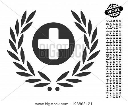 Health Care Embleme icon with black bonus people graphic icons. Health Care Embleme vector illustration style is a flat gray iconic element for web design, app user interfaces.