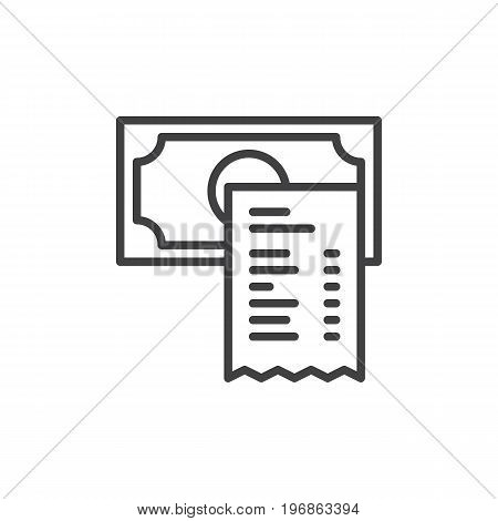 Restaurant check line icon, outline vector sign, linear style pictogram isolated on white. Bill payment symbol, logo illustration. Editable stroke. Pixel perfect vector graphics