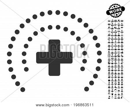 Health Care Protection icon with black bonus work graphic icons. Health Care Protection vector illustration style is a flat gray iconic element for web design, app user interfaces.