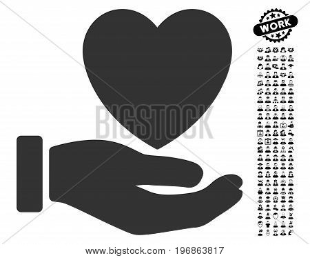 Heart Charity icon with black bonus men graphic icons. Heart Charity vector illustration style is a flat gray iconic element for web design, app user interfaces.