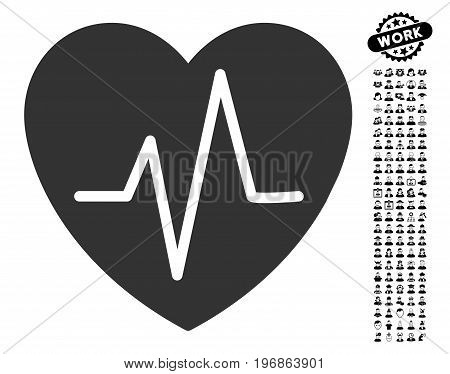 Heart EKG icon with black bonus work pictograph collection. Heart EKG vector illustration style is a flat gray iconic element for web design, app user interfaces.