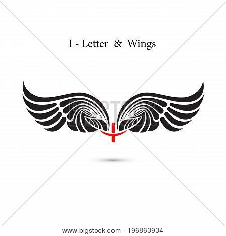 I-letter sign and angel wings.Monogram wing logo mockup.Classic emblem.Elegant dynamic alphabet letters with wings.Creative design element.Corporate branding identity.Flat web design wings icon.Vector illustration.