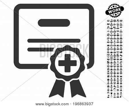 Heart Hammer icon with black bonus profession images. Heart Hammer vector illustration style is a flat gray iconic symbol for web design, app user interfaces.