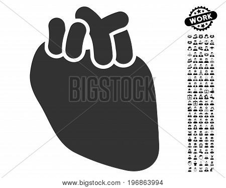 Heart Organ icon with black bonus job symbols. Heart Organ vector illustration style is a flat gray iconic symbol for web design, app user interfaces.