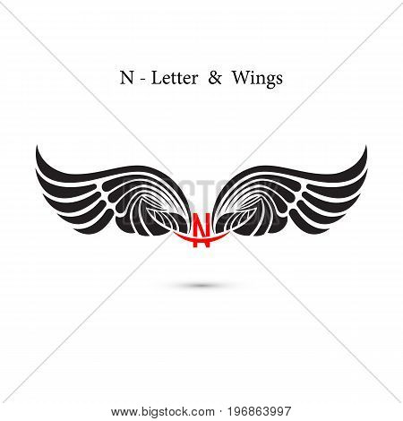 N-letter sign and angel wings.Monogram wing logo mockup.Classic emblem.Elegant dynamic alphabet letters with wings.Creative design element.Corporate branding identity.Flat web design wings icon.Vector illustration.