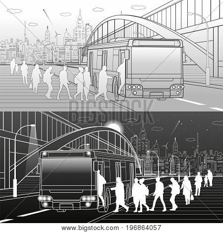 People get off the bus. Pedestrian arch bridge. City transport infrastructure, modern town in background. White and black lines, urban scene, vector design art