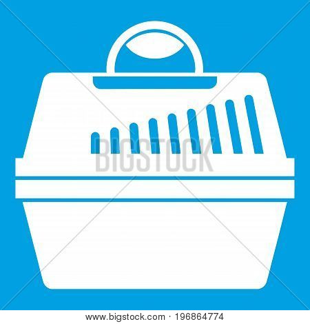 Portable cage for pets icon white isolated on blue background vector illustration