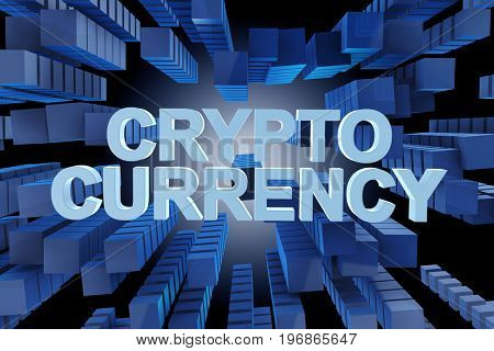 Concept of cryptocurrency in modern business - 3d rendering