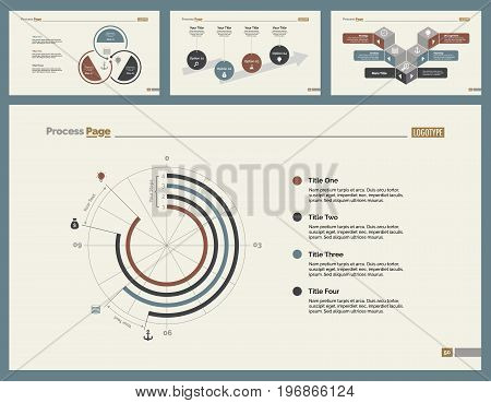 Infographic design set can be used for workflow layout, diagram, annual report, presentation, web design. Business and planning concept with process and doughnut charts.
