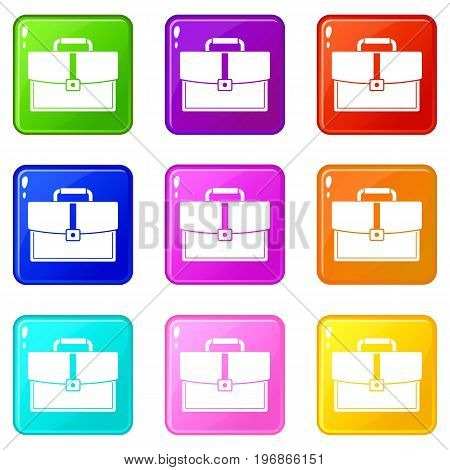 Business briefcase icons of 9 color set isolated vector illustration