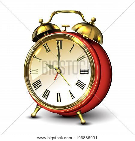 Red retro style alarm clock on white background. Vector illustration.