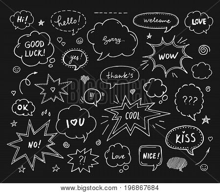 Hand drawn set of speech bubbles with dialog words: Hi Love Sorry Welcome. White print on black background