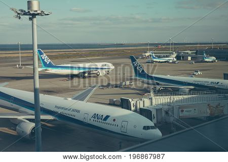 HANEDA/JAPAN, JULY 28 2017 - Plane from All Nippon Airways ANA (NH) at the Haneda Airport. ANA, is the largest airline in Japan