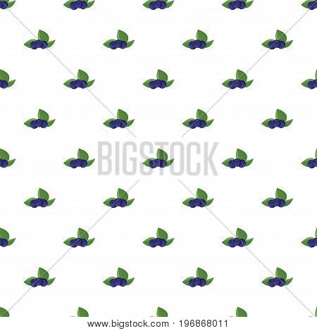 Ripe bilberries with green leaves pattern seamless repeat in cartoon style vector illustration