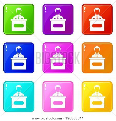 Businessman giving a presentation icons of 9 color set isolated vector illustration