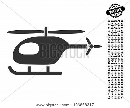 Helicopter icon with black bonus professional graphic icons. Helicopter vector illustration style is a flat gray iconic element for web design, app user interfaces.